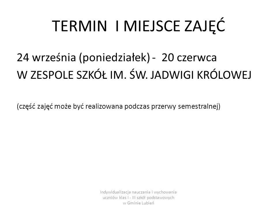 TERMIN I MIEJSCE ZAJĘĆ 24 września (poniedziałek) - 20 czerwca W ZESPOLE SZKÓŁ IM.