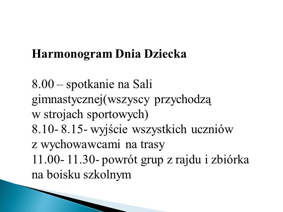 Harmonogram Dnia Dziecka 8.00 – spotkanie na Sali gimnastycznej(wszyscy przychodzą w strojach sportowych) 8.10- 8.15- wyjście wszystkich uczniów z wyc