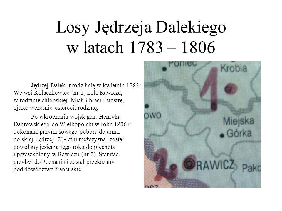 Losy Jędrzeja Dalekiego w latach 1783 – 1806 Jędrzej Daleki urodził się w kwietniu 1783r. We wsi Kołaczkowice (nr 1) koło Rawicza, w rodzinie chłopski