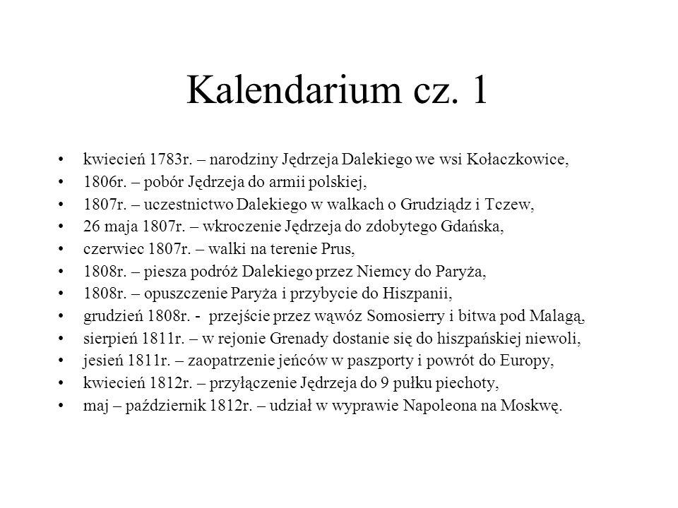 Kalendarium cz. 1 kwiecień 1783r. – narodziny Jędrzeja Dalekiego we wsi Kołaczkowice, 1806r. – pobór Jędrzeja do armii polskiej, 1807r. – uczestnictwo