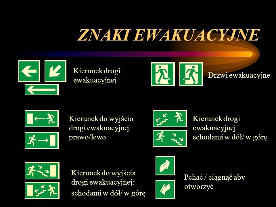 ZNAKI EWAKUACYJNE Kierunek drogi ewakuacyjnej Kierunek do wyjścia drogi ewakuacyjnej: prawo/lewo Kierunek do wyjścia drogi ewakuacyjnej: schodami w dó