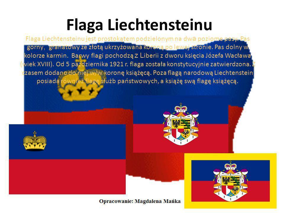 Godło Liechtensteinu Herb Liechtensteinu posiada podzielon ą na krzyż tarczę główną, w której znajduja się: -orzeł śląski- koloru czarnego z białą prz