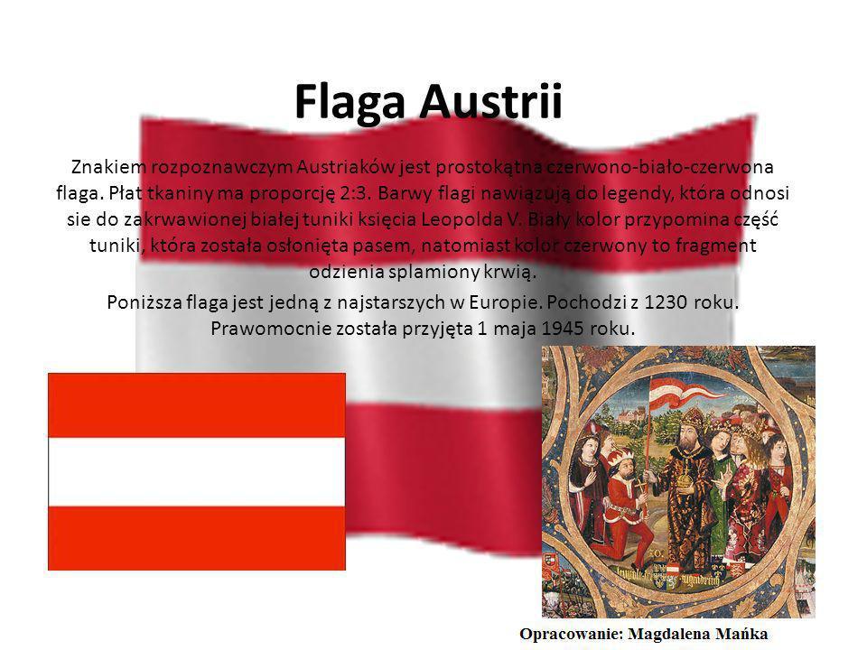 Godło Austrii Jednym z ciekawszych herbów jest godło Austrii. Przedstawia ono czarnego orła ze złotym dziobem zwróconym w prawą stronę. Na głowie posi