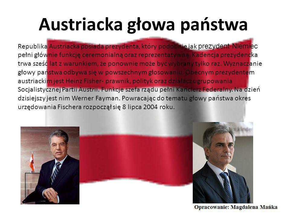 Flaga Austrii Znakiem rozpoznawczym Austriaków jest prostokątna czerwono-biało-czerwona flaga. Płat tkaniny ma proporcję 2:3. Barwy flagi nawiązują do