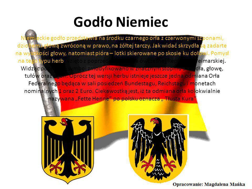 Godło Niemiec Niemieckie godło przedstawia na środku czarnego orła z czerwonymi szponami, dziobem i głową zwróconą w prawo, na żółtej tarczy.