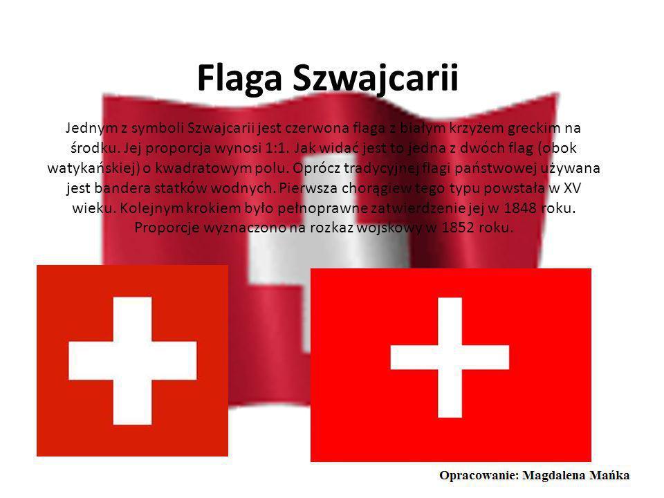 Godło Szwajcarii Szwajcarskie godło jest w kształcie tarczy wypełnionej czerwienią, na której widnieje biały grecki krzyż. Historia powstania herbu je