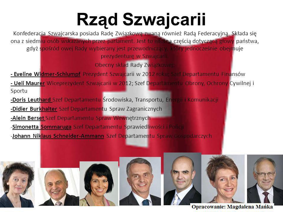 Flaga Szwajcarii Jednym z symboli Szwajcarii jest czerwona flaga z białym krzyżem greckim na środku. Jej proporcja wynosi 1:1. Jak widać jest to jedna