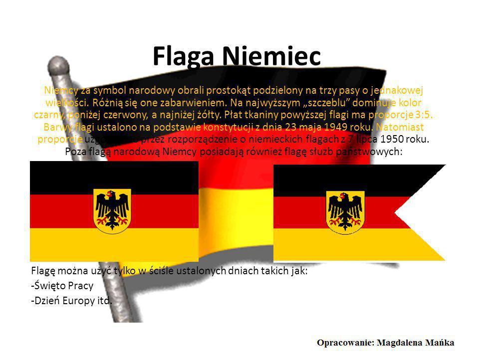Godło Niemiec Niemieckie godło przedstawia na środku czarnego orła z czerwonymi szponami, dziobem i głową zwróconą w prawo, na żółtej tarczy. Jak wida