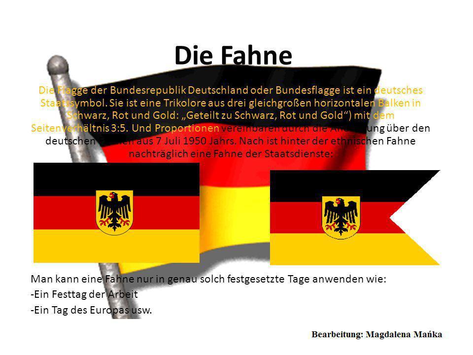 Bundeswappen Deutschlands Das Bundeswappen ist das Staatswappen der Bundesrepublik Deutschland. Es weist die Farben der Nationalflagge Schwarz-Rot-Gol