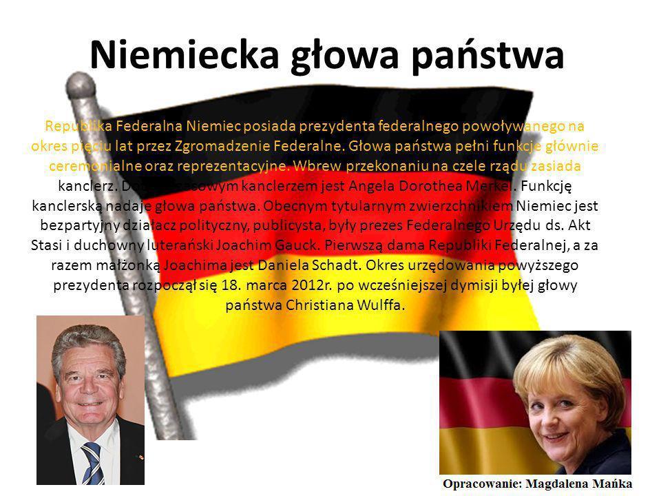 Niemiecka głowa państwa Republika Federalna Niemiec posiada prezydenta federalnego powoływanego na okres pięciu lat przez Zgromadzenie Federalne.