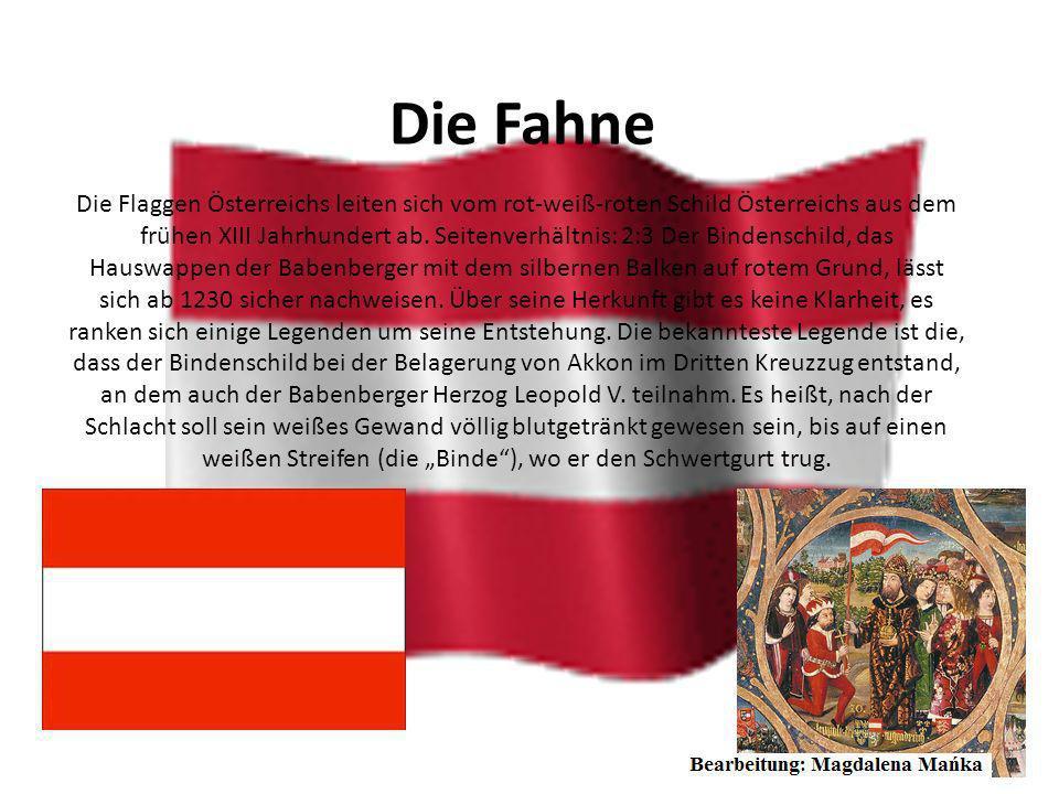 Bundeswappen Das Österreichische Bundeswappen, das gegenwärtige Wappen Österreichs, wurde im Jahr 1919 mit dem Rot-Weiß-Rot aus dem Bindenschild und d