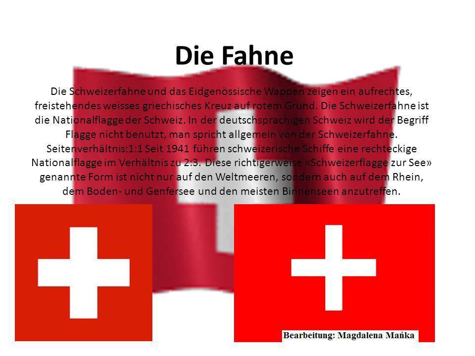 Bundeswappen Das Eidgenössische Wappen enthält ein frei stehendes, weisses Kreuz auf rotem Grund in denselben Proportionen wie die Flagge. Im Gegensat