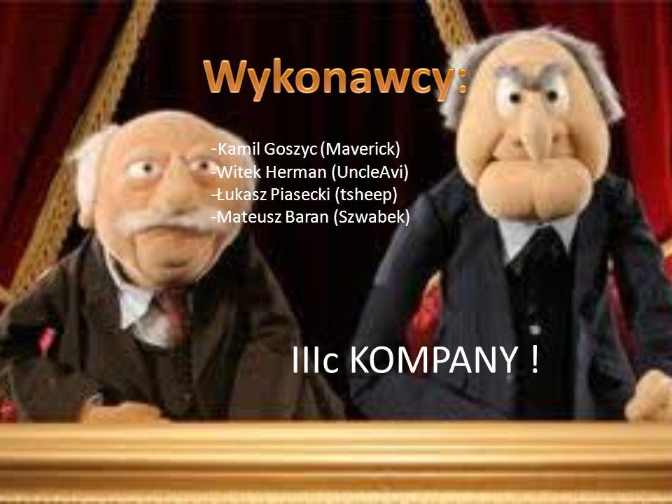 - Kamil Goszyc (Maverick) -Witek Herman (UncleAvi) -Łukasz Piasecki (tsheep) -Mateusz Baran (Szwabek) IIIc KOMPANY !
