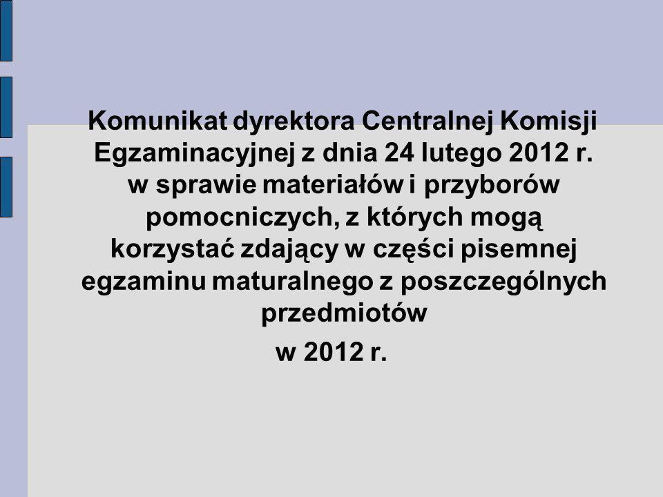 Komunikat dyrektora Centralnej Komisji Egzaminacyjnej z dnia 24 lutego 2012 r.