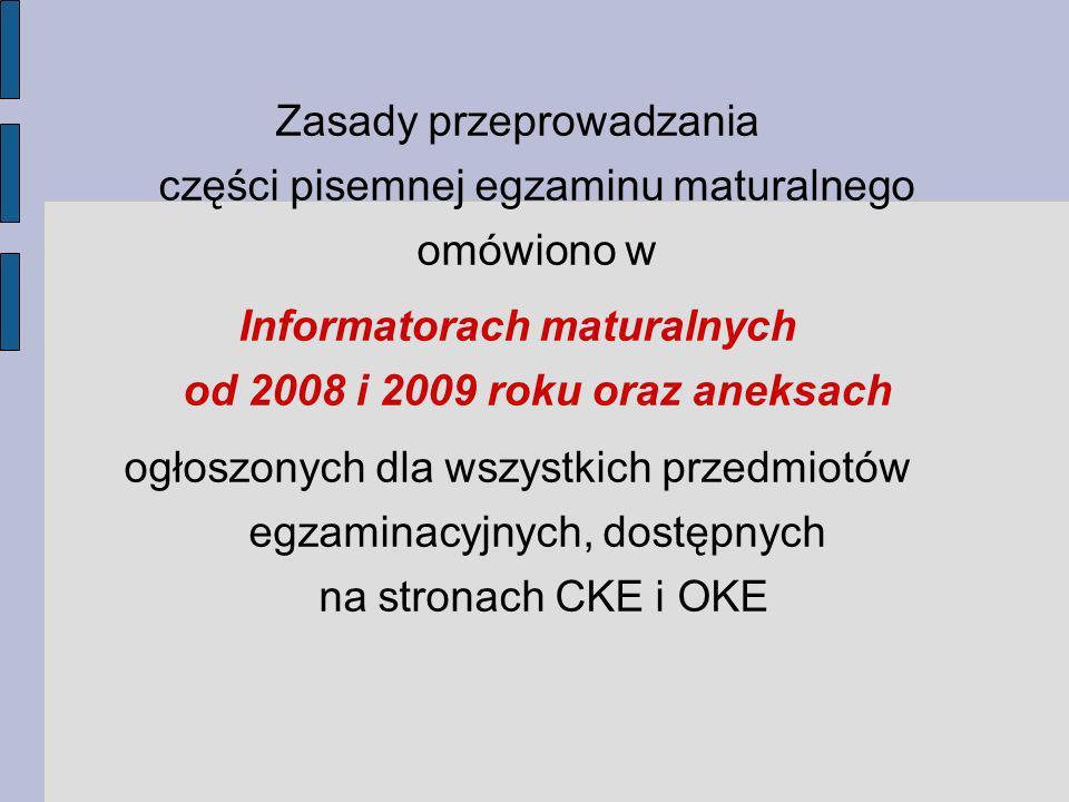 Zasady przeprowadzania części pisemnej egzaminu maturalnego omówiono w Informatorach maturalnych od 2008 i 2009 roku oraz aneksach ogłoszonych dla wszystkich przedmiotów egzaminacyjnych, dostępnych na stronach CKE i OKE