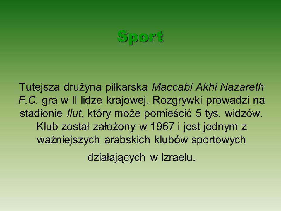 Tutejsza drużyna piłkarska Maccabi Akhi Nazareth F.C. gra w II lidze krajowej. Rozgrywki prowadzi na stadionie Ilut, który może pomieścić 5 tys. widzó