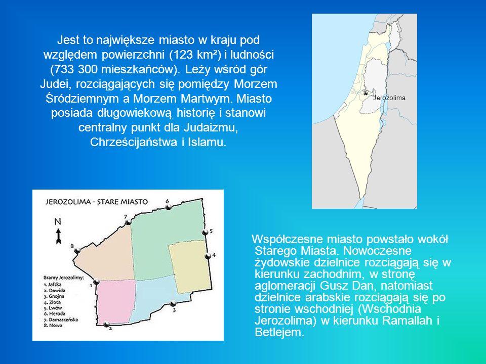 Jest to największe miasto w kraju pod względem powierzchni (123 km²) i ludności (733 300 mieszkańców). Leży wśród gór Judei, rozciągających się pomięd