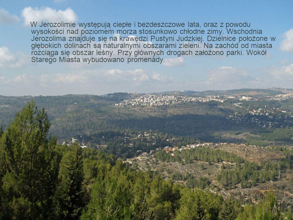 W Jerozolimie występują ciepłe i bezdeszczowe lata, oraz z powodu wysokości nad poziomem morza stosunkowo chłodne zimy. Wschodnia Jerozolima znajduje