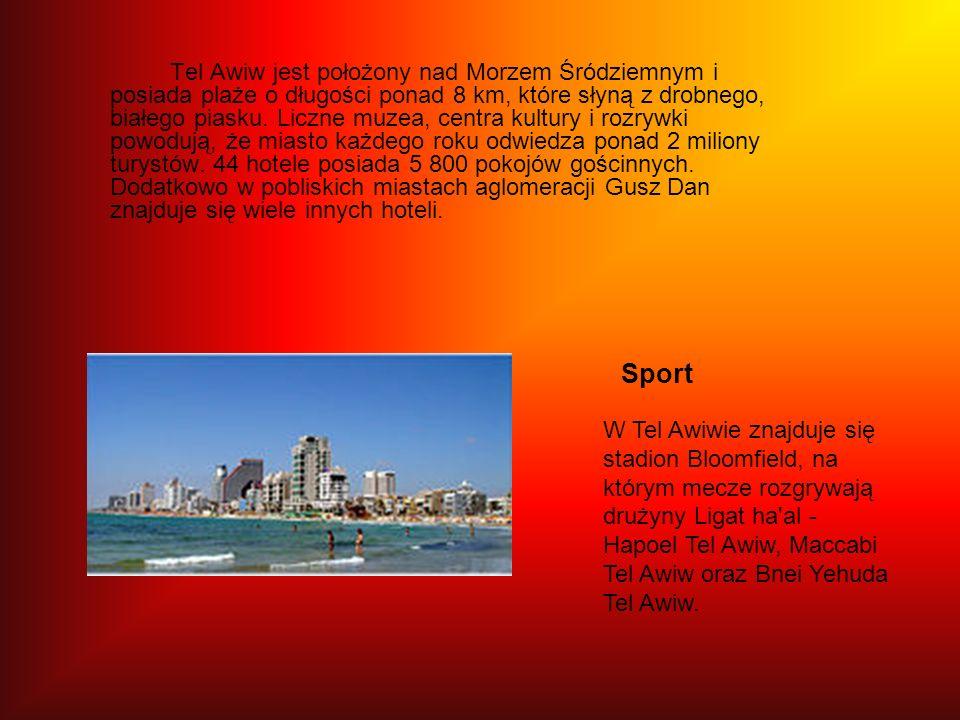 Tel Awiw jest położony nad Morzem Śródziemnym i posiada plaże o długości ponad 8 km, które słyną z drobnego, białego piasku. Liczne muzea, centra kult