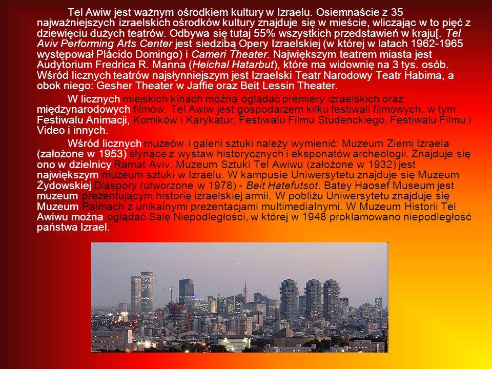 Tel Awiw jest ważnym ośrodkiem kultury w Izraelu. Osiemnaście z 35 najważniejszych izraelskich ośrodków kultury znajduje się w mieście, wliczając w to