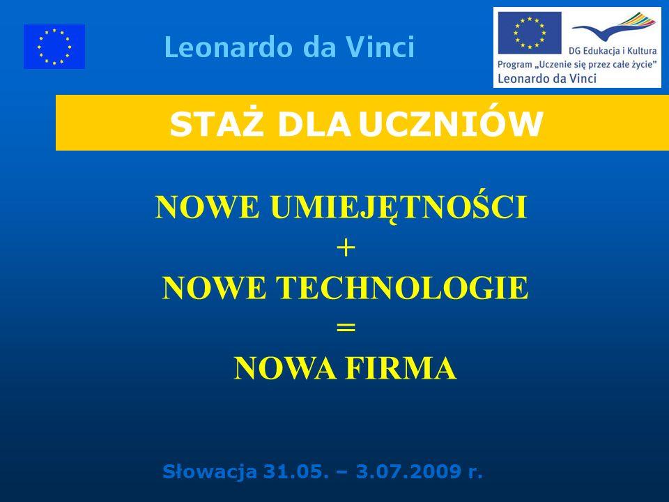 STAŻ DLA UCZNIÓW NOWE UMIEJĘTNOŚCI + NOWE TECHNOLOGIE = NOWA FIRMA Słowacja 31.05. – 3.07.2009 r.