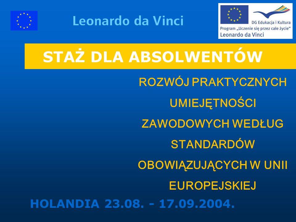 STAŻ DLA ABSOLWENTÓW HOLANDIA 23.08.- 17.09.2004.