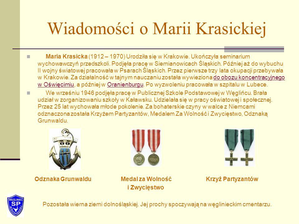 Wiadomości o Marii Krasickiej Maria Krasicka (1912 – 1970) Urodziła się w Krakowie. Ukończyła seminarium wychowawczyń przedszkoli. Podjęła pracę w Sie