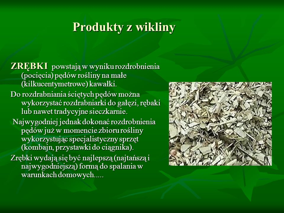 Produkty z wikliny ZRĘBKI powstają w wyniku rozdrobnienia (pocięcia) pędów rośliny na małe (kilkucentymetrowe) kawałki. Do rozdrabniania ściętych pędó