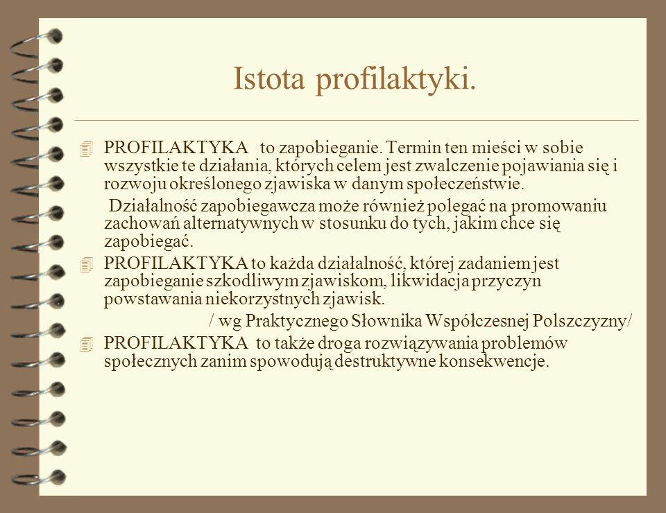 Istota profilaktyki.4 PROFILAKTYKA to zapobieganie.