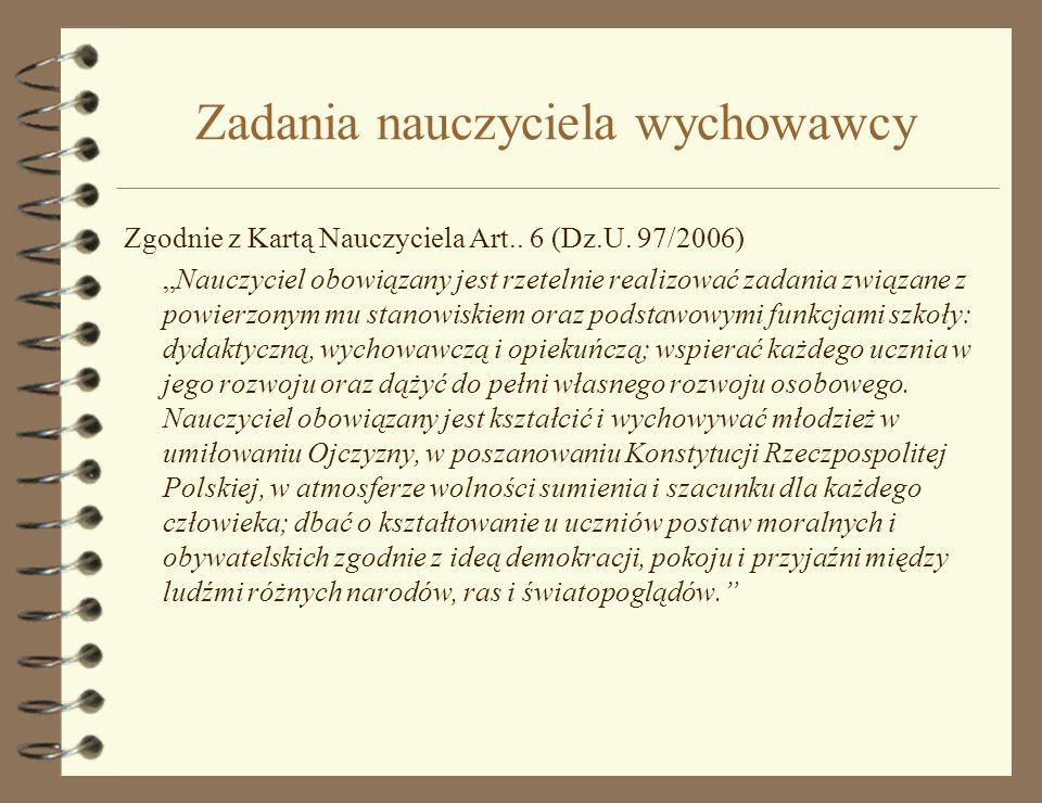 Zadania nauczyciela wychowawcy Zgodnie z Kartą Nauczyciela Art..