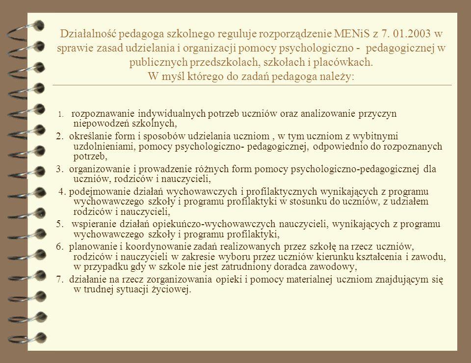 Działalność pedagoga szkolnego reguluje rozporządzenie MENiS z 7.