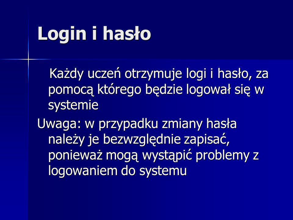 Login i hasło Każdy uczeń otrzymuje logi i hasło, za pomocą którego będzie logował się w systemie Każdy uczeń otrzymuje logi i hasło, za pomocą którego będzie logował się w systemie Uwaga: w przypadku zmiany hasła należy je bezwzględnie zapisać, ponieważ mogą wystąpić problemy z logowaniem do systemu