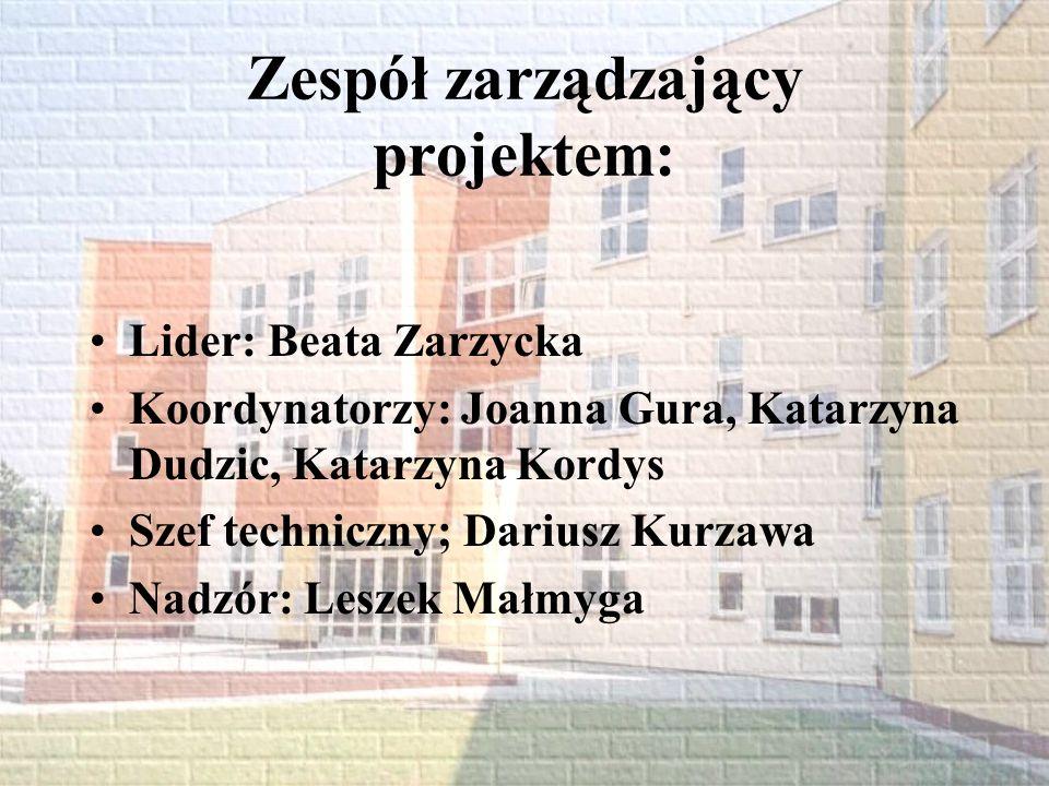 Zespół zarządzający projektem: Lider: Beata Zarzycka Koordynatorzy: Joanna Gura, Katarzyna Dudzic, Katarzyna Kordys Szef techniczny; Dariusz Kurzawa N