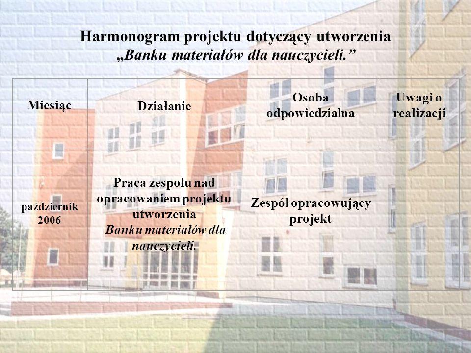 Harmonogram projektu dotyczący utworzenia Banku materiałów dla nauczycieli. Miesiąc Działanie Osoba odpowiedzialna Uwagi o realizacji październik 2006