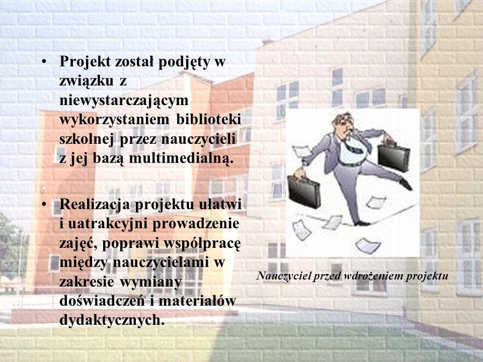 Cel główny wdrożenie systemu nowoczesnego funkcjonowania biblioteki szkolnej Nauczyciel w trakcie wdrażania projektu