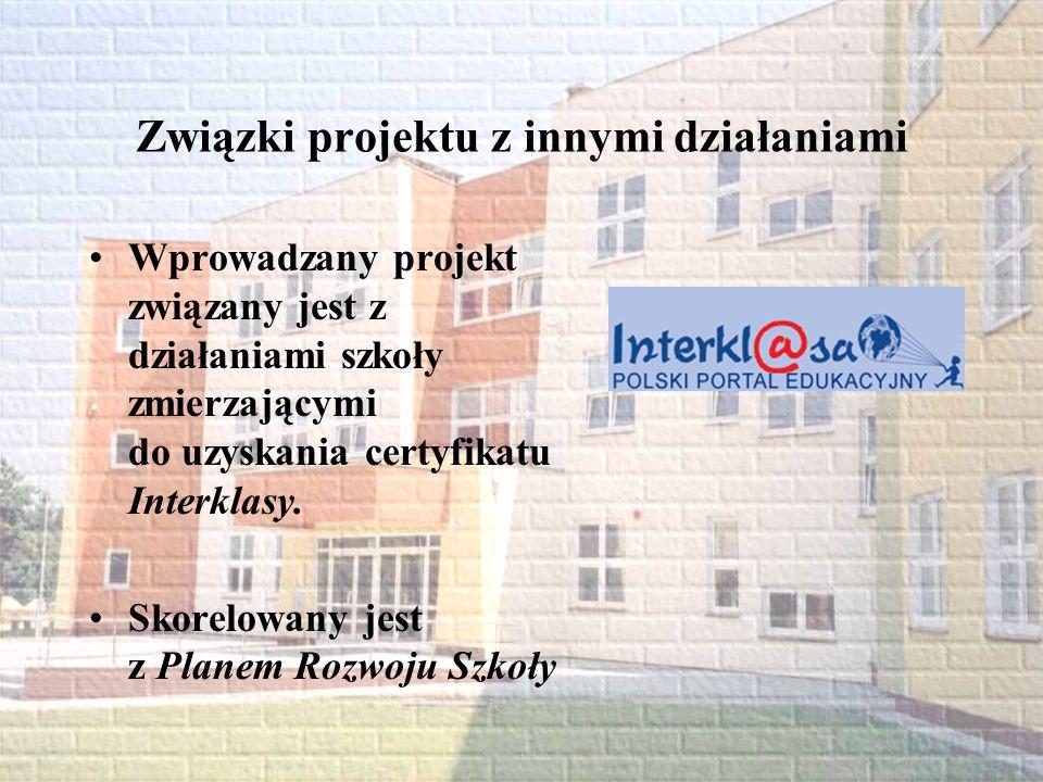 Związki projektu z innymi działaniami Wprowadzany projekt związany jest z działaniami szkoły zmierzającymi do uzyskania certyfikatu Interklasy. Skorel