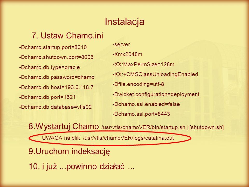 Chamo zauważalnie działa wolniej niż Chameleon Pierwsze wrażenie Nieprawidłowe działanie indeksów Brak rekordów zasobu