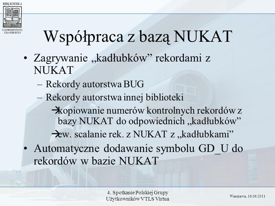 4. Spotkanie Polskiej Grupy Użytkowników VTLS Virtua Współpraca z bazą NUKAT Zagrywanie kadłubków rekordami z NUKAT –Rekordy autorstwa BUG –Rekordy au