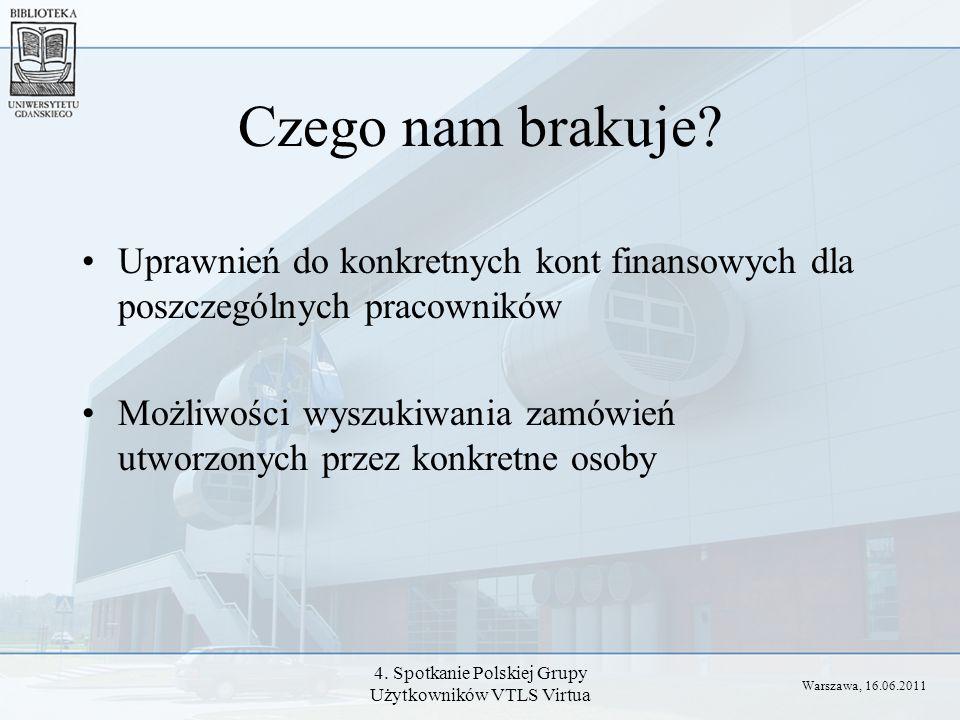 4. Spotkanie Polskiej Grupy Użytkowników VTLS Virtua Czego nam brakuje? Uprawnień do konkretnych kont finansowych dla poszczególnych pracowników Możli