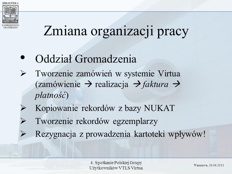4. Spotkanie Polskiej Grupy Użytkowników VTLS Virtua Zmiana organizacji pracy Oddział Gromadzenia Tworzenie zamówień w systemie Virtua (zamówienie rea