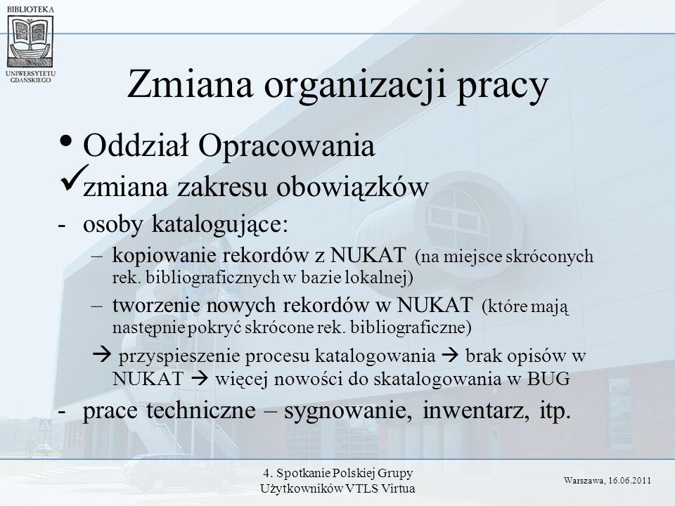 4. Spotkanie Polskiej Grupy Użytkowników VTLS Virtua Zmiana organizacji pracy Oddział Opracowania zmiana zakresu obowiązków -osoby katalogujące: –kopi