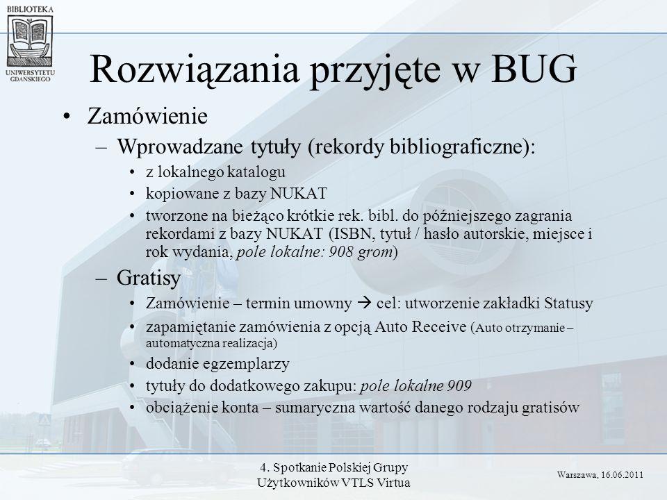 4. Spotkanie Polskiej Grupy Użytkowników VTLS Virtua Rozwiązania przyjęte w BUG Zamówienie –Wprowadzane tytuły (rekordy bibliograficzne): z lokalnego