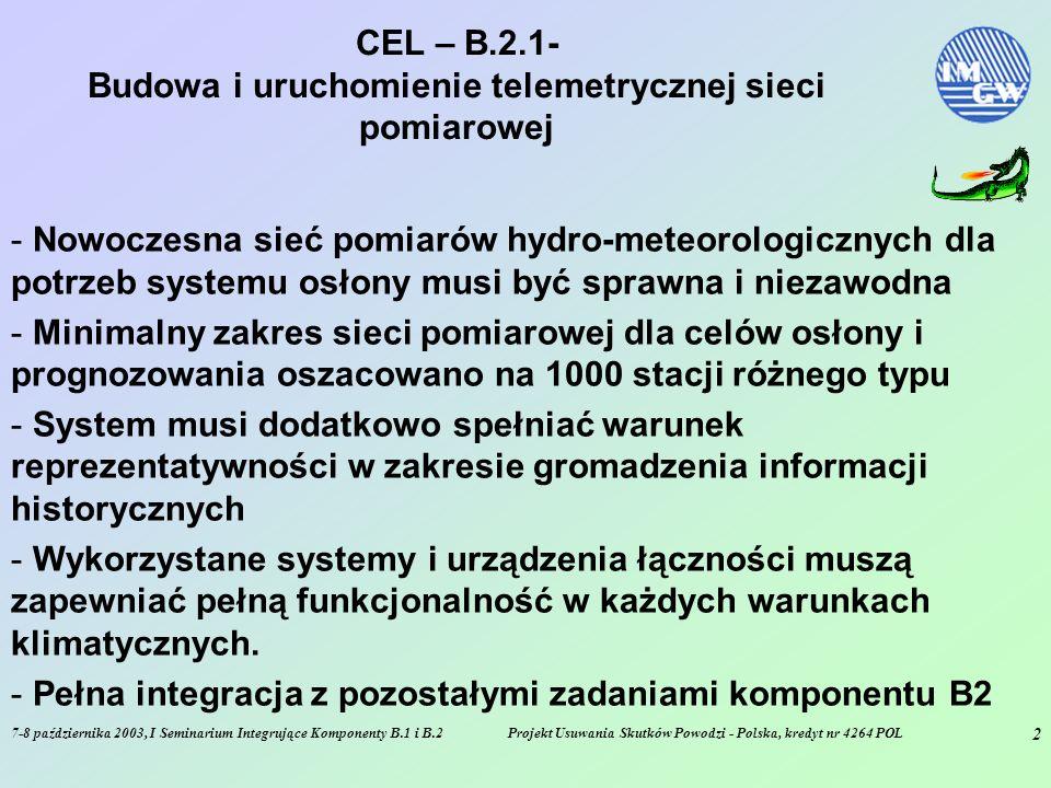 7-8 października 2003, I Seminarium Integrujące Komponenty B.1 i B.2Projekt Usuwania Skutków Powodzi - Polska, kredyt nr 4264 POL 2 CEL – B.2.1- Budowa i uruchomienie telemetrycznej sieci pomiarowej - Nowoczesna sieć pomiarów hydro-meteorologicznych dla potrzeb systemu osłony musi być sprawna i niezawodna - Minimalny zakres sieci pomiarowej dla celów osłony i prognozowania oszacowano na 1000 stacji różnego typu - System musi dodatkowo spełniać warunek reprezentatywności w zakresie gromadzenia informacji historycznych - Wykorzystane systemy i urządzenia łączności muszą zapewniać pełną funkcjonalność w każdych warunkach klimatycznych.