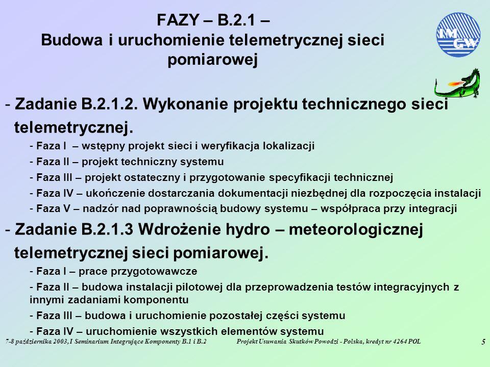 7-8 października 2003, I Seminarium Integrujące Komponenty B.1 i B.2Projekt Usuwania Skutków Powodzi - Polska, kredyt nr 4264 POL 5 FAZY – B.2.1 – Budowa i uruchomienie telemetrycznej sieci pomiarowej - Zadanie B.2.1.2.
