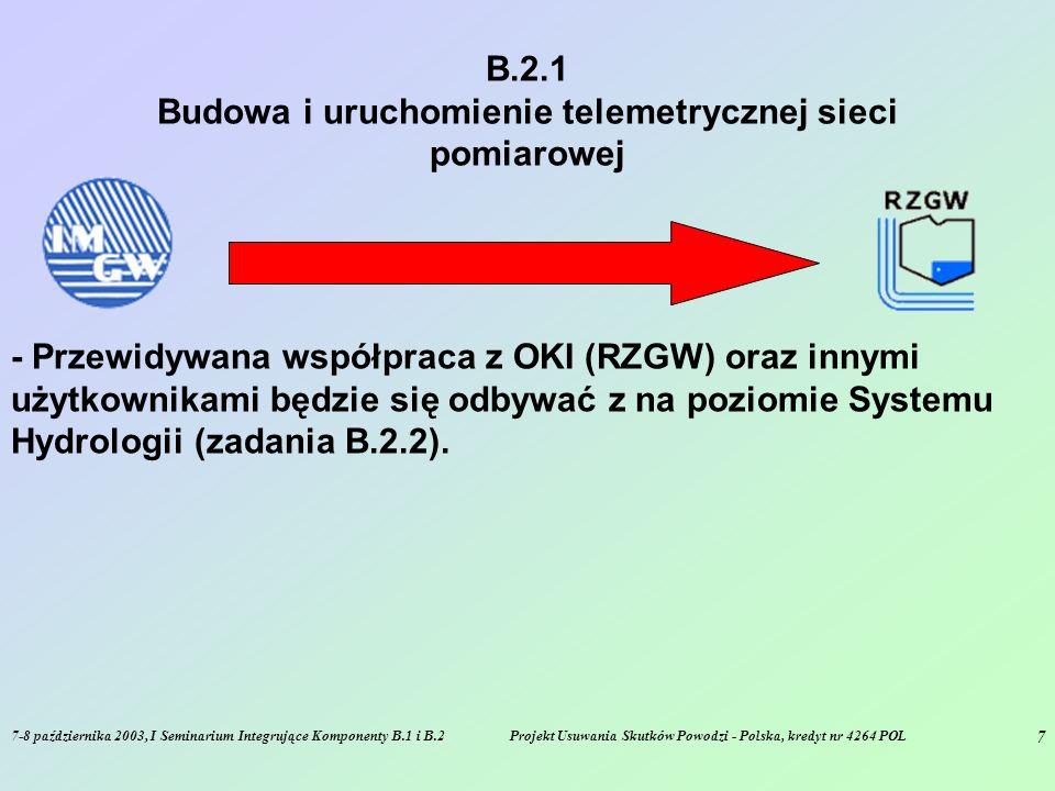 7-8 października 2003, I Seminarium Integrujące Komponenty B.1 i B.2Projekt Usuwania Skutków Powodzi - Polska, kredyt nr 4264 POL 7 B.2.1 Budowa i uruchomienie telemetrycznej sieci pomiarowej - Przewidywana współpraca z OKI (RZGW) oraz innymi użytkownikami będzie się odbywać z na poziomie Systemu Hydrologii (zadania B.2.2).