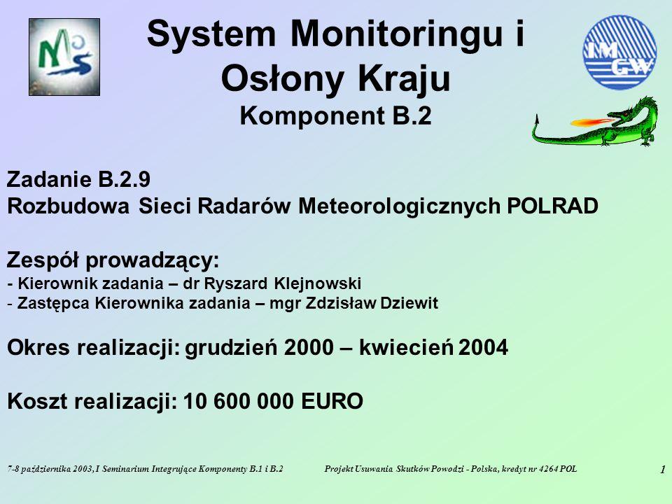 7-8 października 2003, I Seminarium Integrujące Komponenty B.1 i B.2Projekt Usuwania Skutków Powodzi - Polska, kredyt nr 4264 POL 2 CEL – B.2.9 - Rozbudowa i modernizacja sieci radarów meteorologicznych w Polsce w celu: zasilenia modeli hydrologicznych danymi opadowymi o wysokiej rozdzielczości czasowej (5-10 minut) i przestrzennej (1- 4 km) dostarczenia synoptykom 3-wymiarowych danych o strukturach opadowych w atmosferze (wysoka rozdzielczość) dostarczenia synoptykom meteorologom i hydrologom zoptymalizowanej analizy stref opadowych oraz ich prognozy
