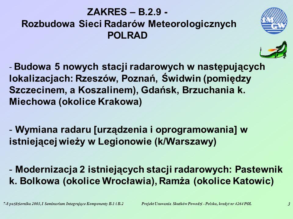 7-8 października 2003, I Seminarium Integrujące Komponenty B.1 i B.2Projekt Usuwania Skutków Powodzi - Polska, kredyt nr 4264 POL 4 ZAKRES – B.2.9 - Rozbudowa Sieci Radarów Meteorologicznych POLRAD - Budowa Radarowego Centrum Operacyjnego IMGW - Zapewnienie systemu łączności satelitarnej pomiędzy poszczególnymi stacjami radarowymi a Radarowym Centrum Operacyjnym - Zapewnienie danych dla modeli hydrologicznych oraz systemu LEADS [wsparcie synoptyka meteorologicznego]