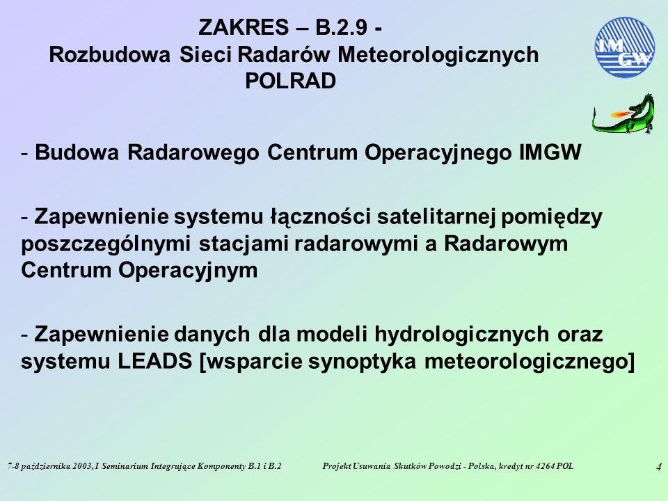 7-8 października 2003, I Seminarium Integrujące Komponenty B.1 i B.2Projekt Usuwania Skutków Powodzi - Polska, kredyt nr 4264 POL 5 FAZY – B.2.9 - Rozbudowa Sieci Radarów Meteorologicznych POLRAD - Wymiana stacji radarowej w Legionowie - Oddanie do użytku Radarowego Centrum Operacyjnego oraz zapewnienie systemu satelitarnej transmisji danych radarowych.