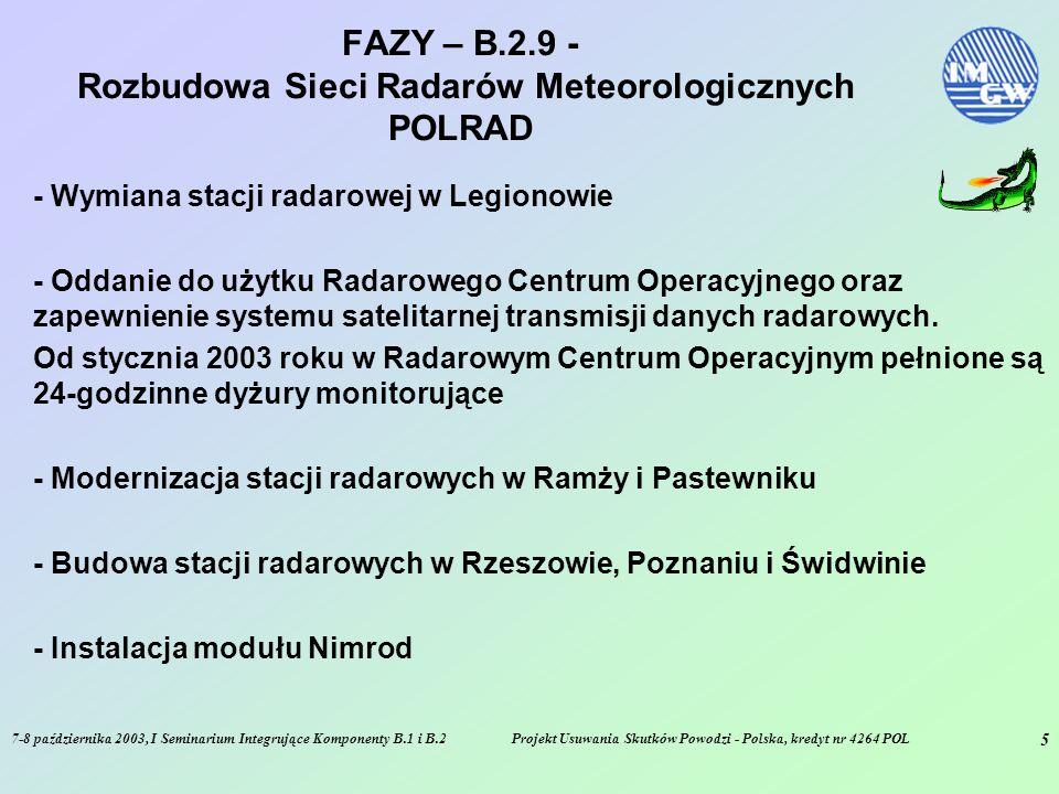 7-8 października 2003, I Seminarium Integrujące Komponenty B.1 i B.2Projekt Usuwania Skutków Powodzi - Polska, kredyt nr 4264 POL 6 FAZY – B.2.9 - Rozbudowa Sieci Radarów Meteorologicznych POLRAD - Budowa stacji radarowych w Gdańsku i Brzuchani - Instalacja najnowszej wersji oprogramowania Rainbow 5.0 - Integracja składników systemu - Testowanie operacyjne systemu - Integracja z innymi komponentami SMOK