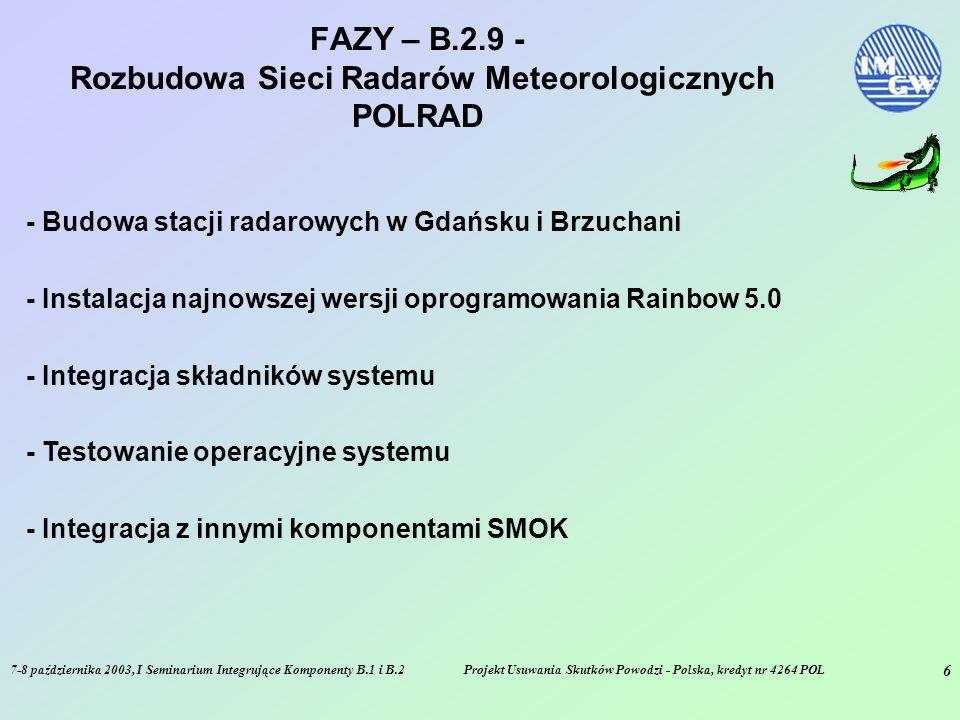 7-8 października 2003, I Seminarium Integrujące Komponenty B.1 i B.2Projekt Usuwania Skutków Powodzi - Polska, kredyt nr 4264 POL 7 STATUS na 30/09/2003 – B.2.9 - Rozbudowa Sieci Radarów Meteorologicznych POLRAD - Ukończono realizację stacji radarowych w Legionowie, Rzeszowie, Poznaniu i Świdwinie - Ukończona modernizacja stacji radarowych w Ramży i Pastewniku - Oddano do użytku Radarowe Centrum Operacyjne - Ukończony system łączności satelitarnej pomiędzy stacjami radarowymi a RCO - Zakończono instalację modułu analityczno-prognostycznego NIMROD - Trwa instalacja nowej wersji oprogramowania RAINBOW 5.0 - Trwa realizacja 2 kolejnych obiektów radarowych - System NIMROD jest przygotowany do przetwarzania danych z deszczomierzy